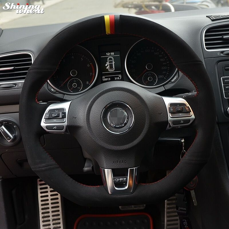 Black Suede Yellow Red Black Marker Steering Wheel Cover for Volkswagen Golf 6 GTI MK6 VW Polo GTI Scirocco R Passat CC R-Line
