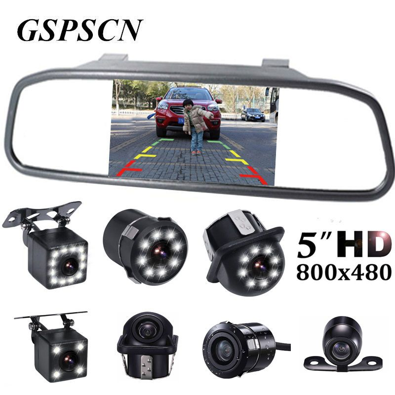 GSPSCN 5 inch Car Rearview Mirror Monitor Auto Parking Vedio + LED Night Vision Backup Reverse Camera CCD Car Rear View Camera
