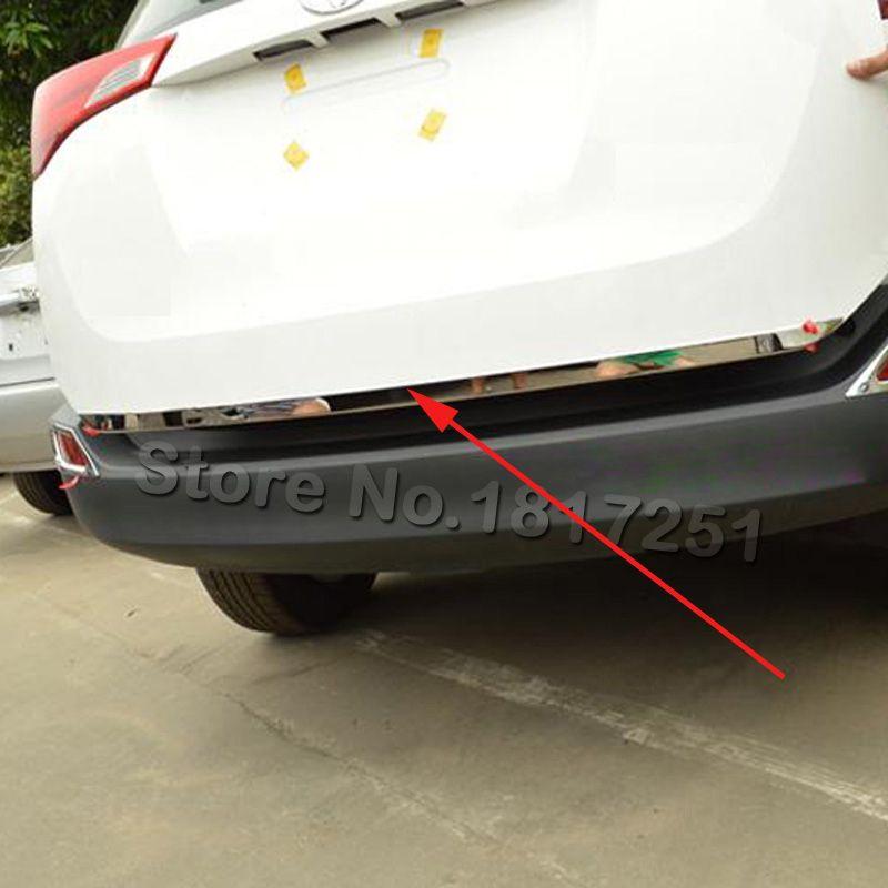 Pour Toyota RAV4 2013 2014 2015 2016 hayon porte arrière couvercle inférieur garniture de moulage en acier inoxydable garniture de porte arrière accessoires de voiture