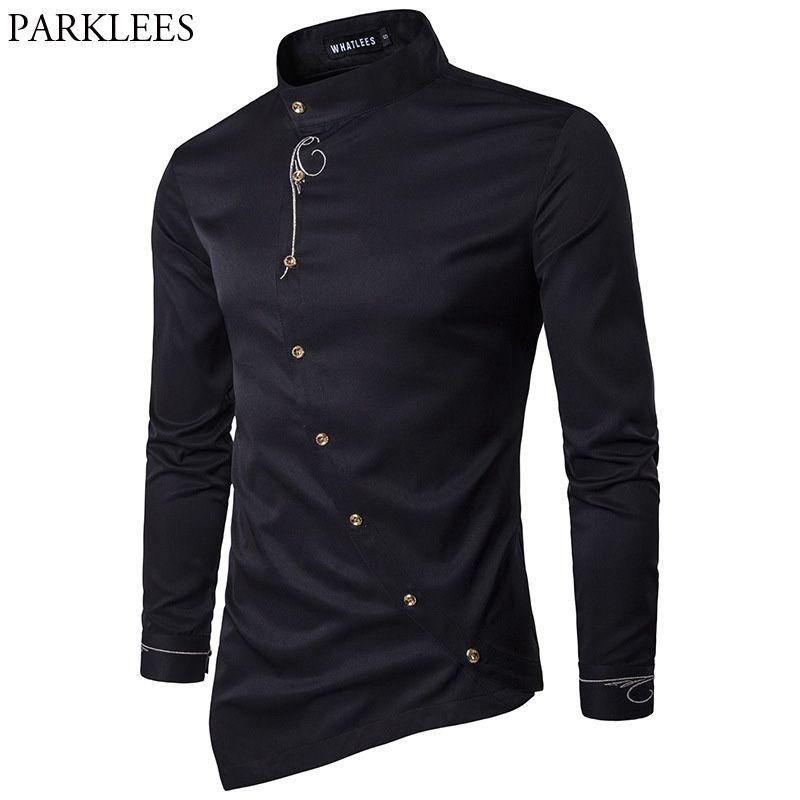 Broderie Chemise hommes 2017 tout nouveau à manches longues hommes robe chemises décontracté Slim Fit bouton vers le bas Chemise Homme Camisetas Hombre