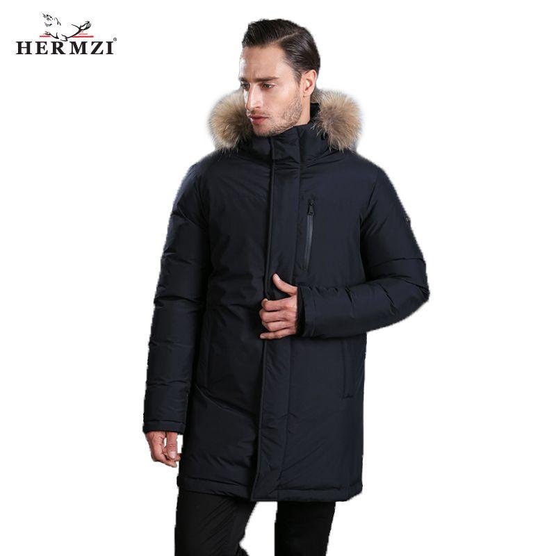 HERMZI 2018 New Men Down Coat Fashion Winter Down Jacket Long Parka Thicken 80% Duck Down Raccoon Fur Collar -30C Free Shipping