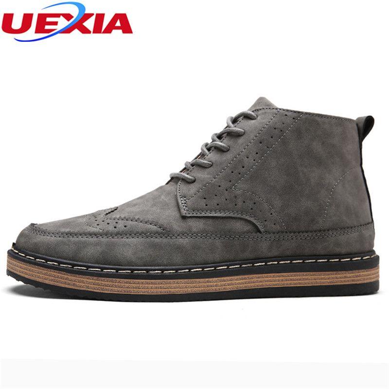 Uexia качество Обувь с перфорацией типа «броги» Мужские ботинки ботильоны высокие мотоботы Martin осень классические офисные Повседневное ручн...