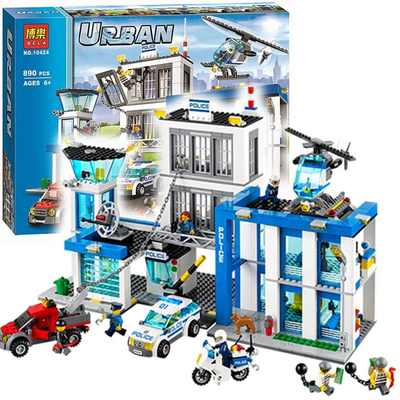 Bela 10424 City Police Station motorbike <font><b>helicopter</b></font> Model building kits compatible with lego city 60047 blocks Educational toys