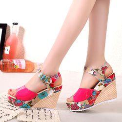 2018 mujeres Sandalias cuñas plataforma verano casual Zapatos mujer floral Super Tacones altos punta abierta Zapatillas Sandalias Zapatos mujer