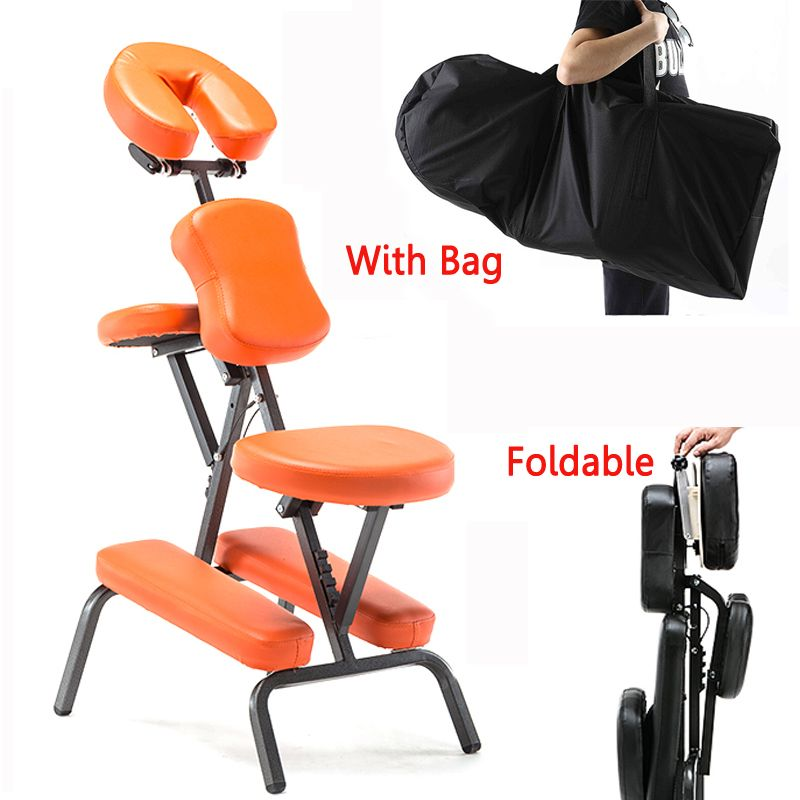 Portable Leather Pad Massage Chair Folding Adjustable Tattoo Scraping Chair With Armrest High Quality Beauty Bed with bag