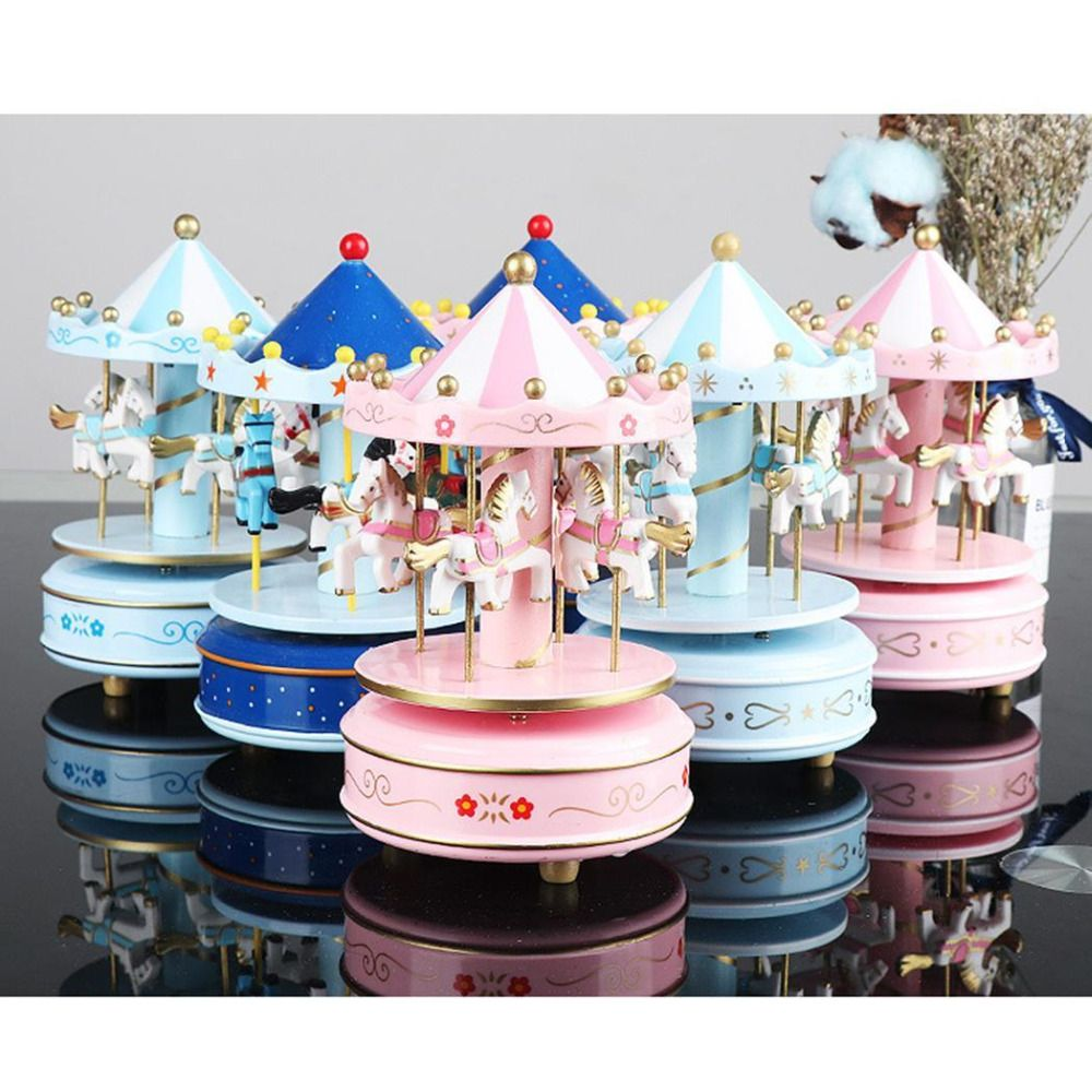 Merry-go-round music boxes Geometric Music baby room decoration Gifts Unisex Wooden Christmas Horse Carousel Box home decor 1pc
