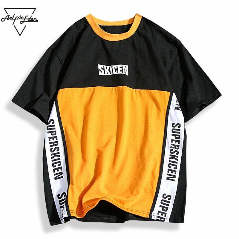 Aelfric Eden Hip Hop <font><b>Skateboard</b></font> Baseball Shirt Men Letter Print Patchwork Color Purple Casual T Shirt Cotton Tees T-shirts PA208