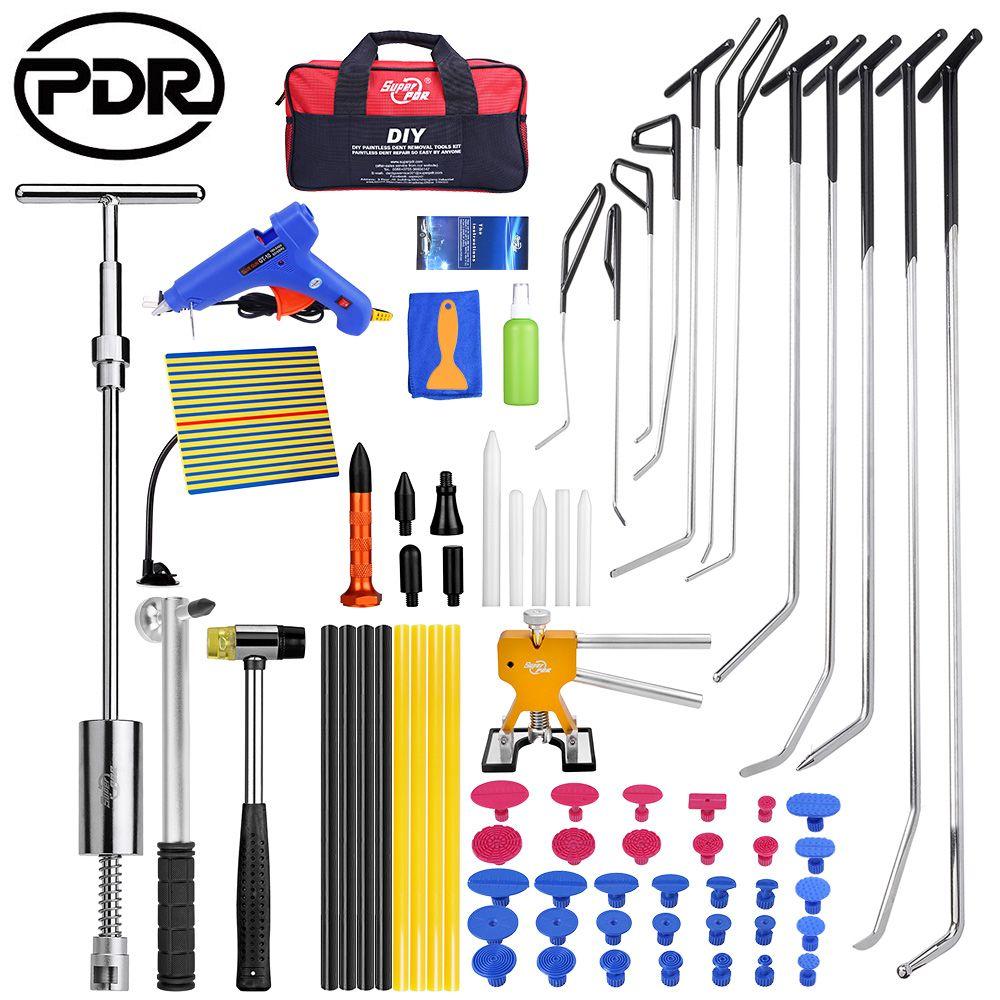 PDR Stangen Haken Werkzeuge Ausbeulen ohne Reparatur Auto Dent Reparatur Dent Entfernung Reflektor Bord Dent Puller Lifter Kleber Gun Tippen unten Werkzeug
