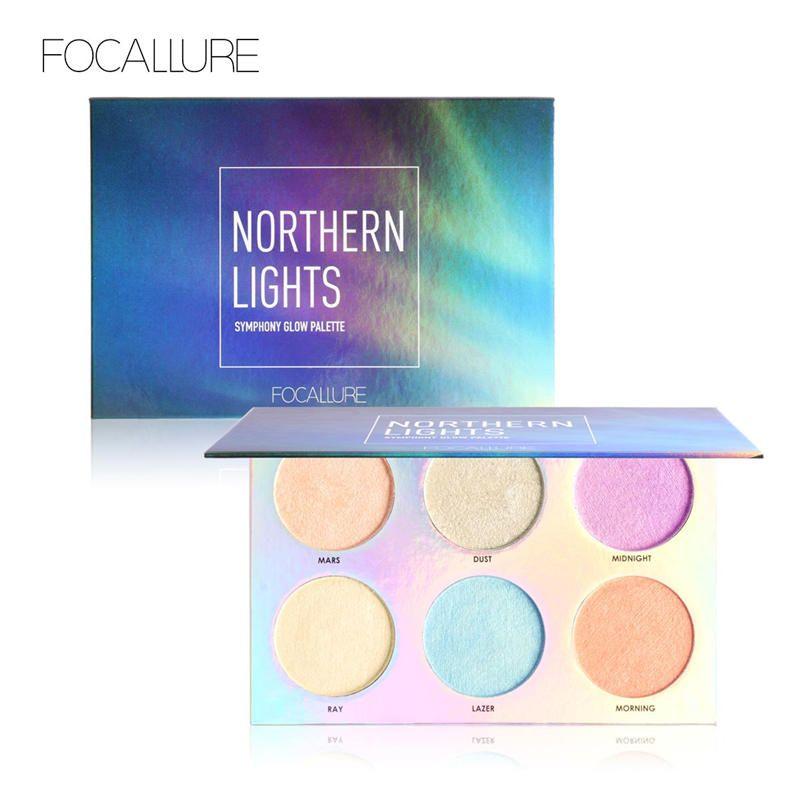 FOCALLURE Northern Lights Symphony Glow Palette Makeup Glitter Face Glow Shimmer Bronzer Highlighter Shimmer Powder