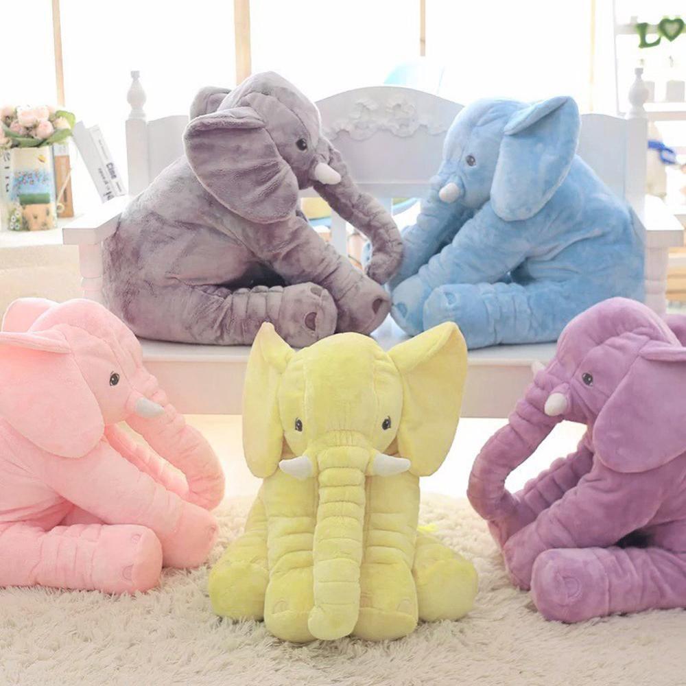 40 cm/60 cm Hauteur Grand Éléphant En Peluche Poupée Jouet Enfants Dormir Dos Coussin Mignon En Peluche Éléphant Bébé Accompagner poupée Cadeau De Noël