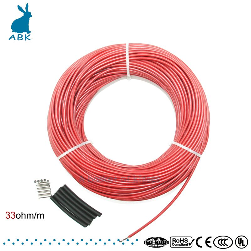 50meters Infrared Underfloor heating cable system of 3mm carbon fiber wire electric floor hotline infrared heating cable