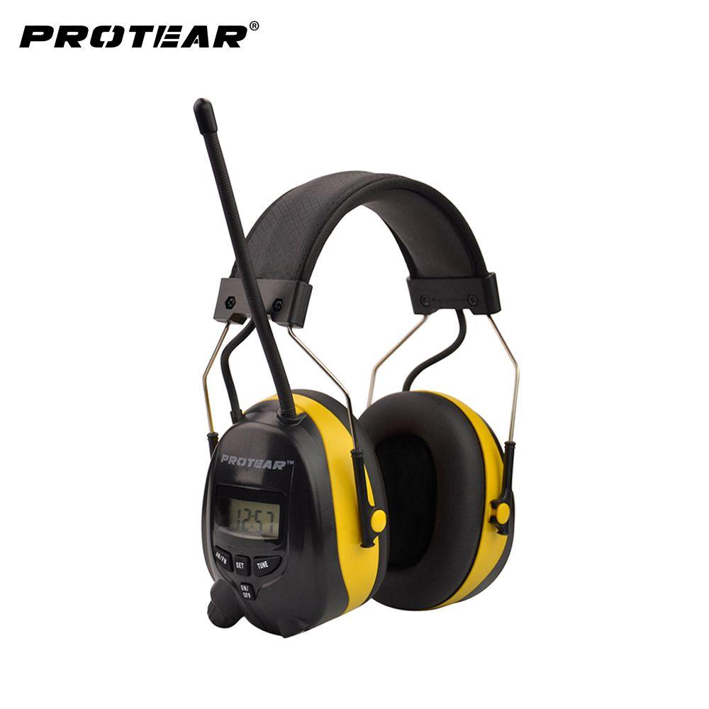 Protear NRR 25dB protecteur auditif AM FM Radio cache-oreilles Protection électronique des oreilles prise de vue cache-oreilles Radio Protection auditive