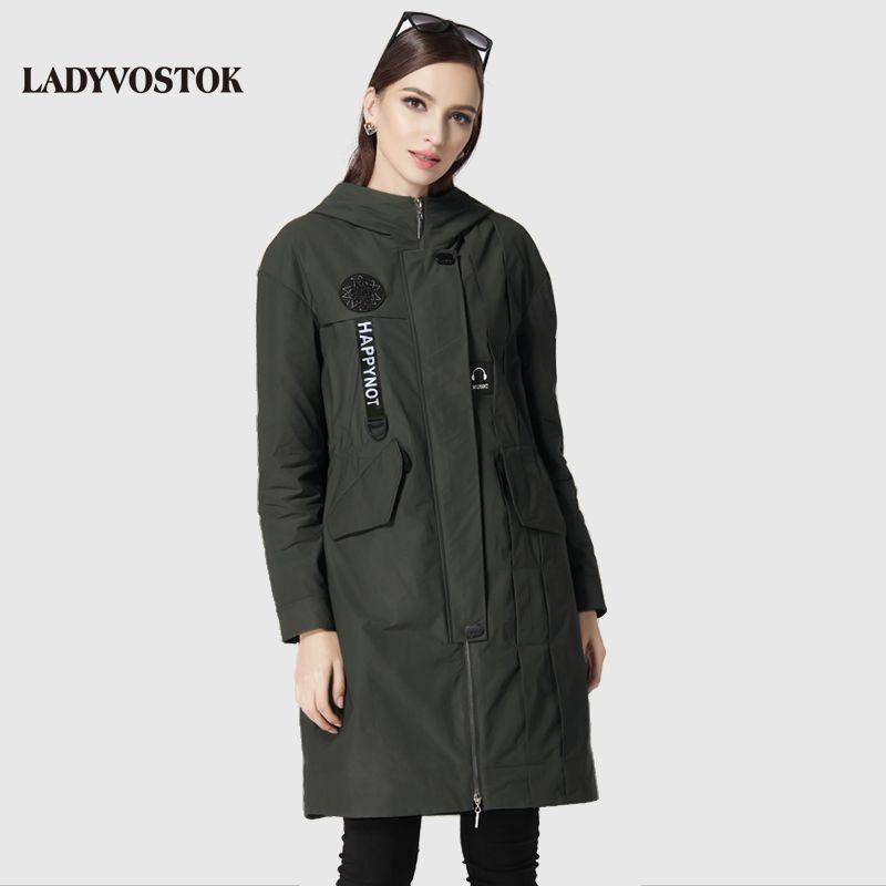LADYVOSTOK Casual windbreaker fashion headphones women's coats women's leisure long section 17-079