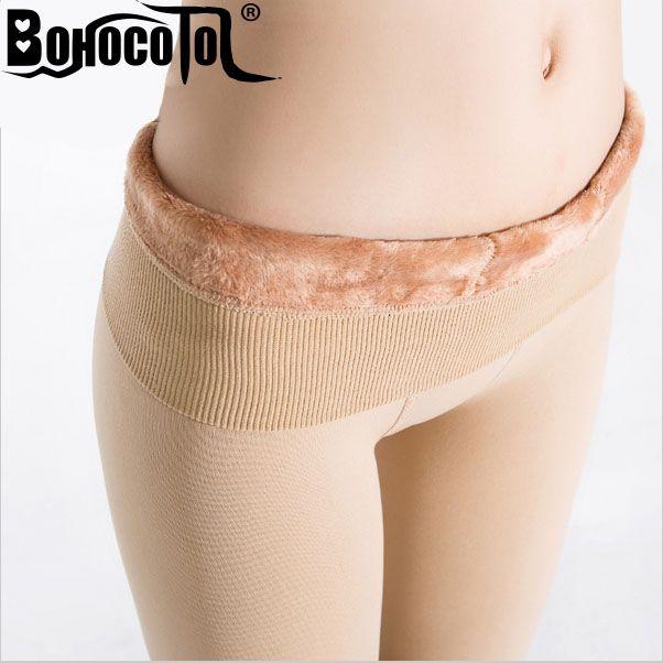 Bohocotol élastique plus de velours femmes automne et hiver taille haute couleur de la peau incarcerators legging pantalon épaississement étape un