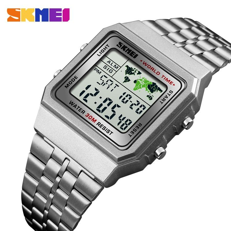 LED Digital Men's Watch Sports Watches Men Relogio Masculino <font><b>Relojes</b></font> Stainless Steel Military Waterproof Wrist watches SKMEI