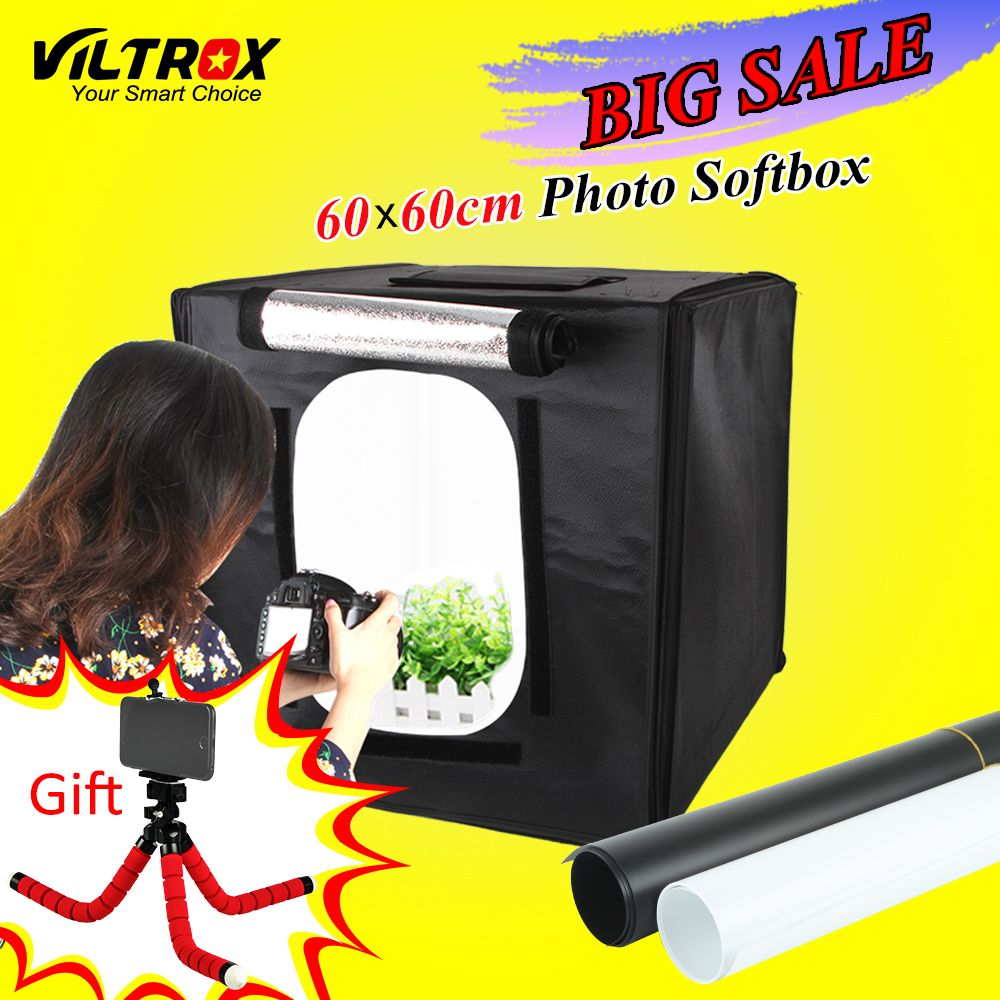 Viltrox 60*60cm LED Photo Studio Softbox Shooting Light Tent Soft Box + Portable Bag + AC Adapter for Jewelry Toys Shoting
