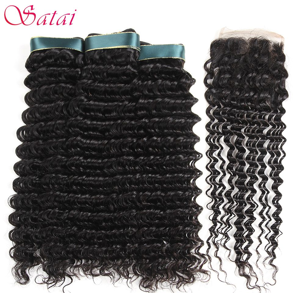 Satai Deep Wave 3 Bundles With Closure Human Hair Bundles With Closure Natural Color Brazilian Hair Weave Bundles Non Remy Hair