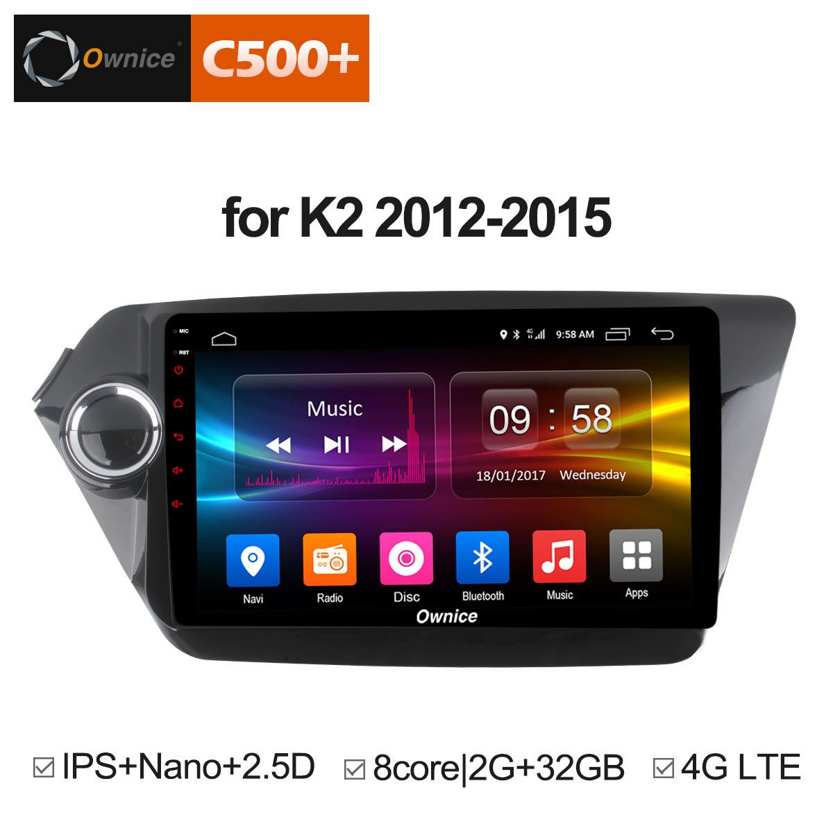 Ownice C500+ G10 Android 8.1 Octa 8 Core car radio player GPS navi for Kia k2 RIO 2012 2013 2014 2015 with 2G RAM Support 4G LTE