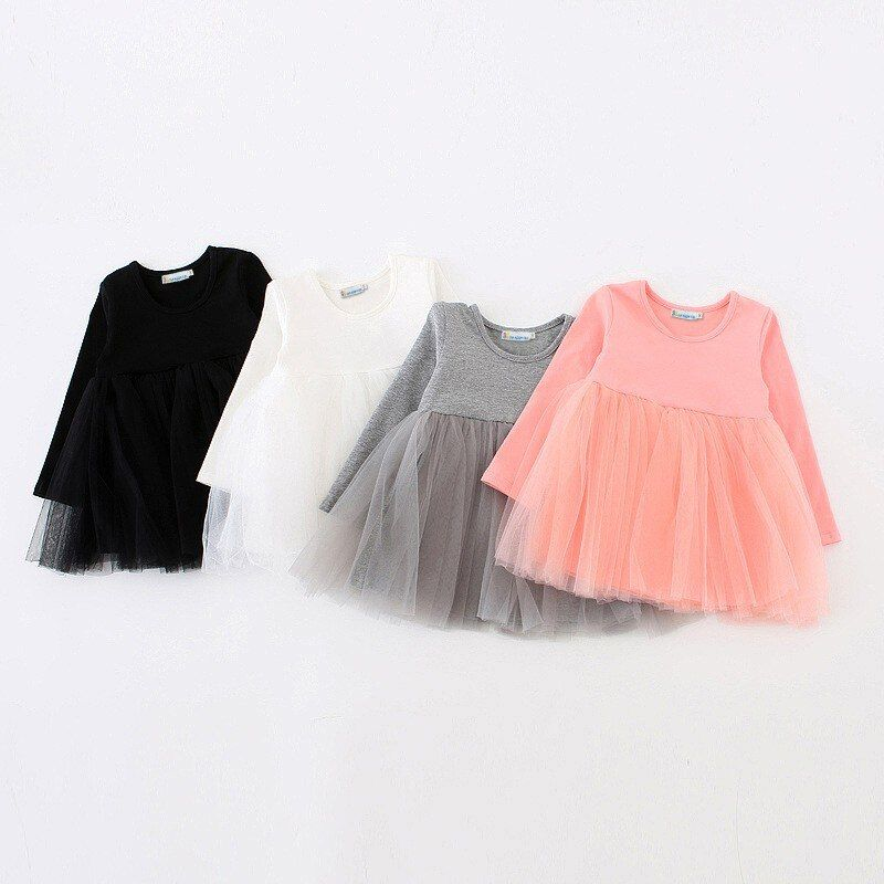 Sun Moon Kids Robes Filles Robe À Manches Longues Bébé Filles Tutu Robe Tulle Moelleux Filles Princesse Robe Filles Vêtements