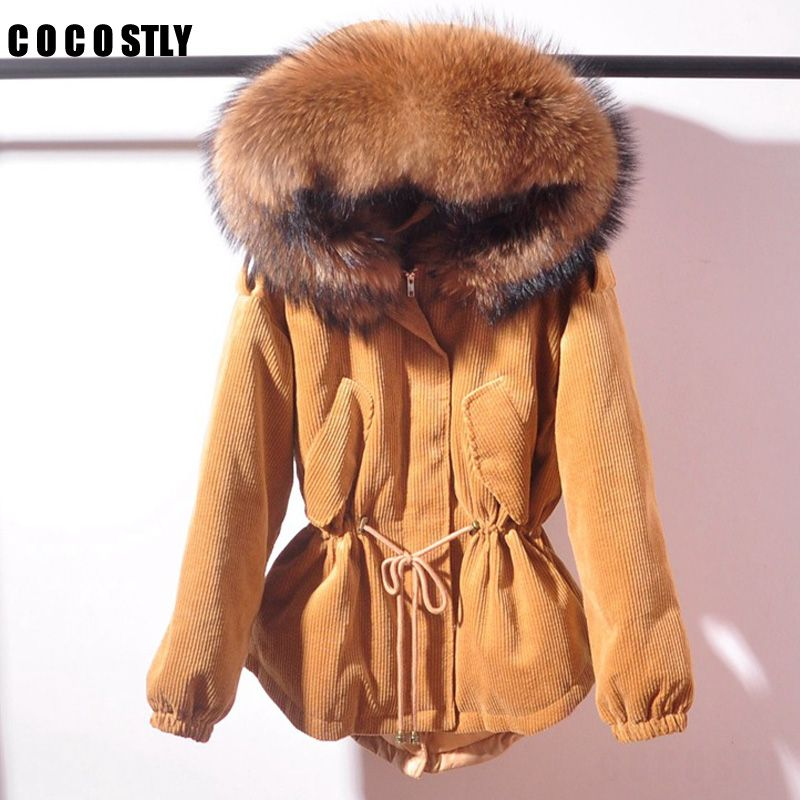 High Quality 2018 winter jacket corduroy parkas jacket female praka coat big raccoon big fur collar cotton clothing women