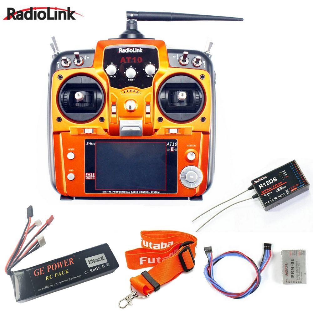 RadioLink AT10 II 2.4Ghz 10CH RC Transmitter with R12DS Receiver PRM-01 Voltage Return Module 11.1V 2200mah Battery Neck Strap