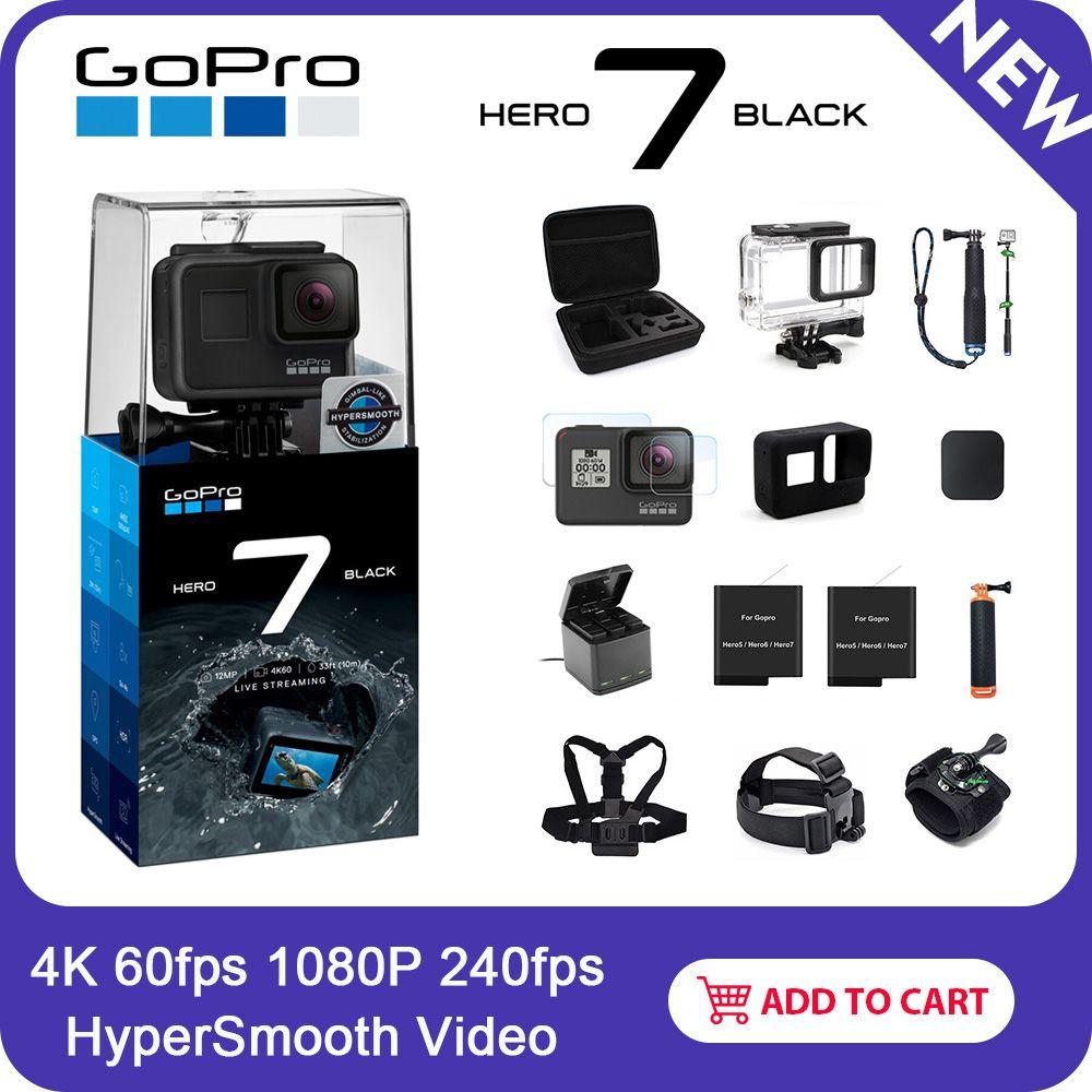 GoPro HERO7 Schwarz Wasserdichte Action Kamera mit Touch Screen Sport Cam Go Pro HERO 7 12MP Fotos Live-Streaming Stabilisierung