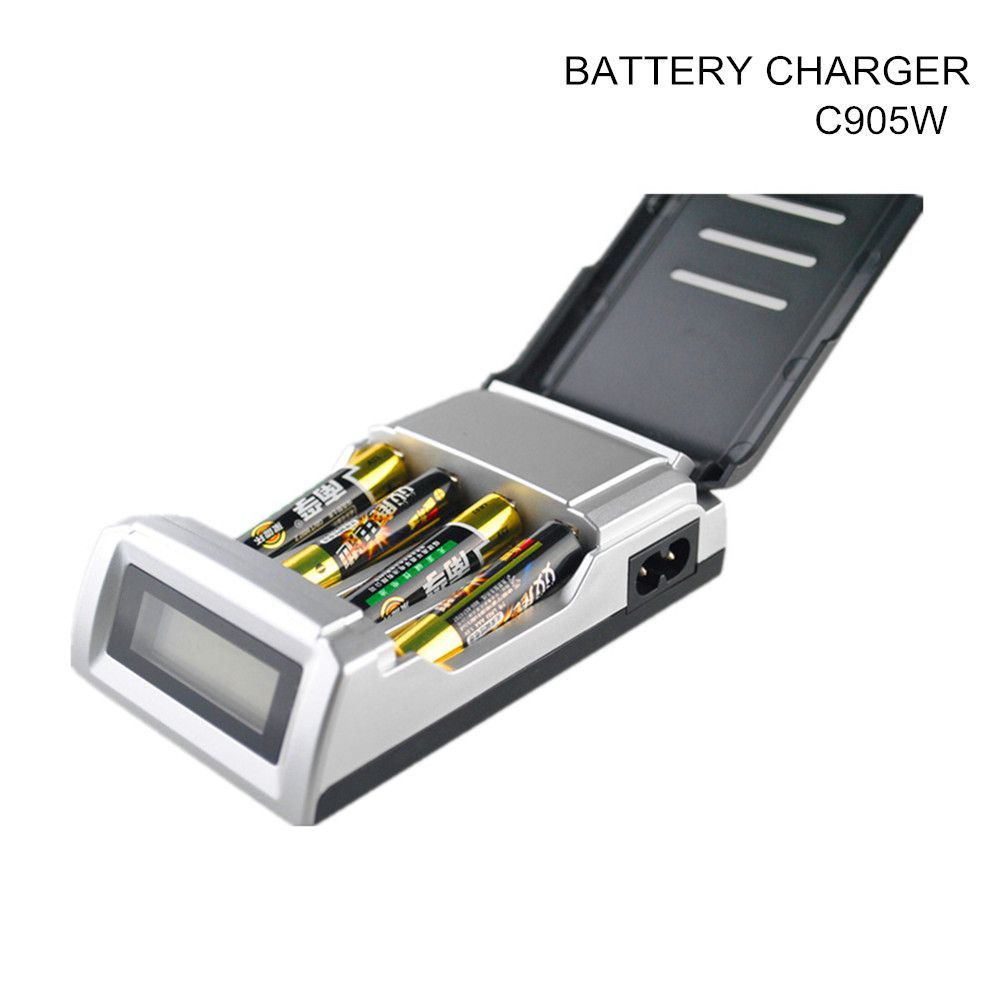 C905W Standard Battery Charger With LCD dispaly 4 Slots Smart Charger for 1-4 pcs AA/AAA Ni-MH/Ni-Cd rechargeable batteries