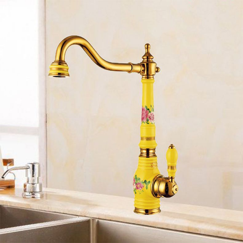 Free Shipping Brass Torneira Cozinha with porcelain Kitchen Faucet/Single Handle Gold Finish Basin Sink Faucet Mixers Taps