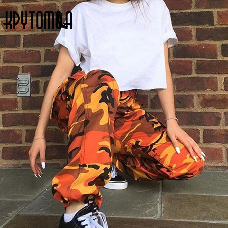 Orange Pink Camouflage Cargo Pants Men Women 2018 High Quality Hip Hop Streetwear Joggers Pants Couple Camo Sweatpants Clothes