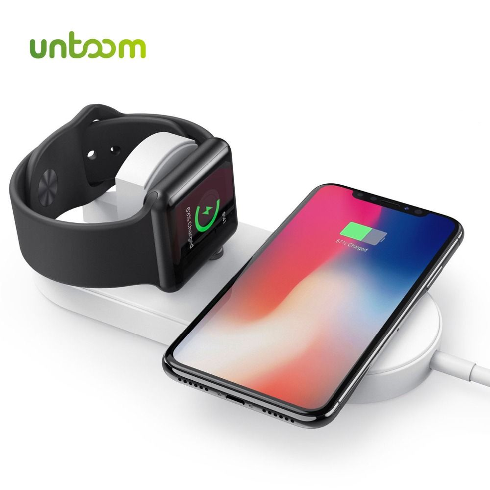 Qi Wireless Fast Charger for Apple Watch 2 3 iWatch iPhone X 8 8 Plus Samsung Fast Wireless Charging USB Pad Dock Phone Adapter