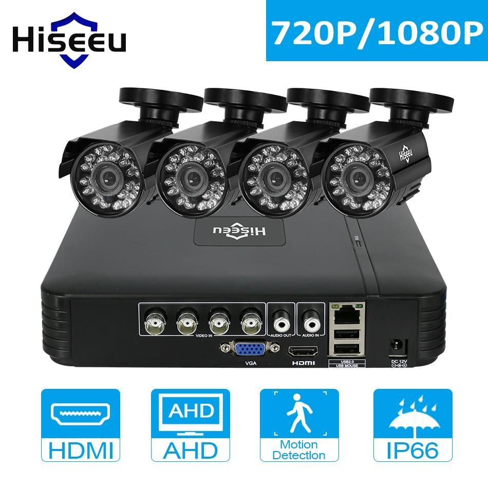 Hiseeu CCTV System 4PCS 720P/1080P AHD Camera Option Mini DVR For CCTV Kit HDMI 2MP Bullet Outdoor Weatherproof Security System