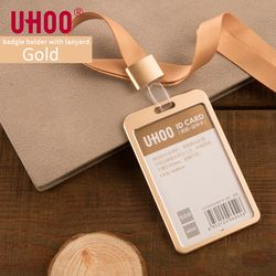 UHOO 6042 En Alliage D'aluminium Vertical ID Titulaire de la Carte avec Lanière Or Argent Titulaire de la Carte Nom Tag Badge Titulaire Bureau Fournitures