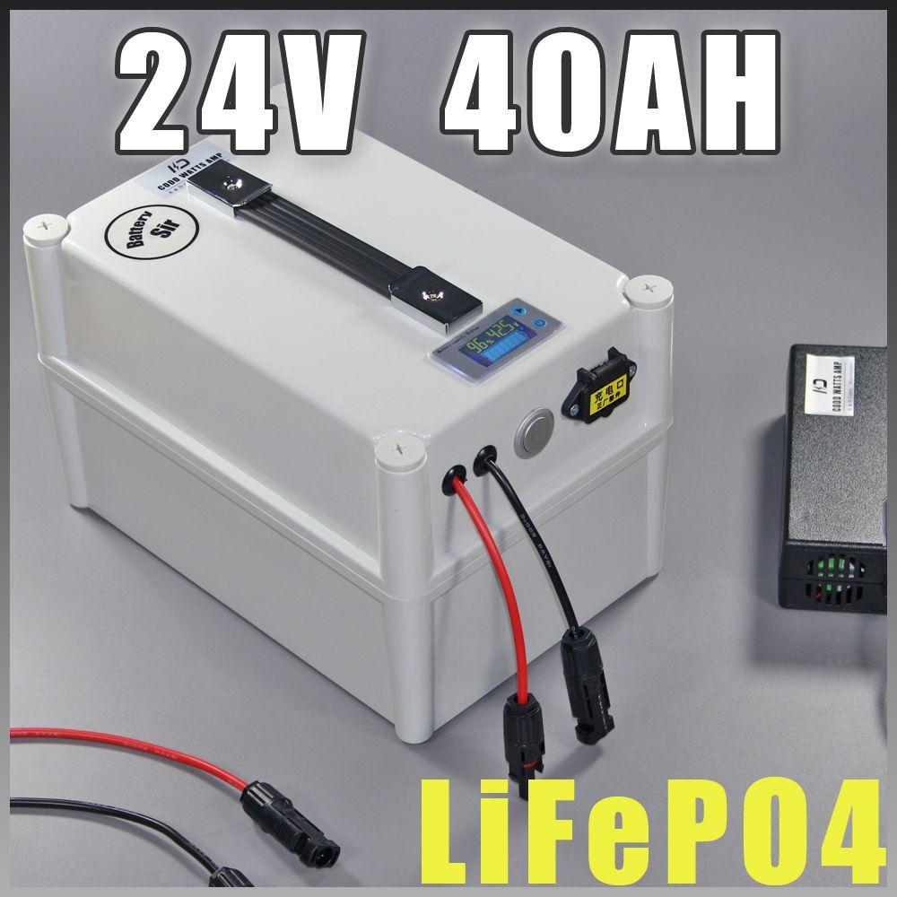 24 V 40Ah LiFePO4 batterie Portable 1000 W batterie de vélo électrique + chargeur BMS 24 v lithium scooter batterie de vélo électrique