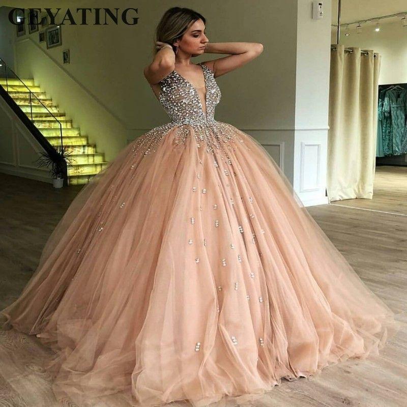 Champagne Tüll Ballkleid Abendkleid 2019 Lange Elegante Frauen Formale Kleid Schwere Perlen Kristall Tiefem V-ausschnitt Süß 16 Kleider