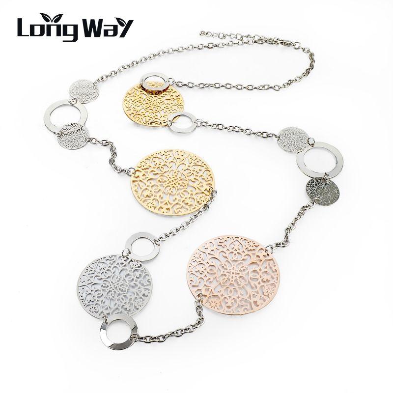 Longway largo de la vendimia collar de la declaración de oro y color plata redondo de la flor de las mujeres collares y colgantes joyería 2017 sne150001