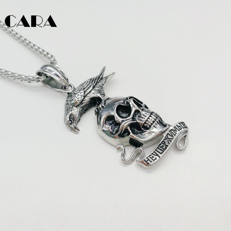 2019 New mens hip hop neklace punk Eagle skull necklace 316L stainless steel gothetic rapper pendant necklace fashion CARA0307