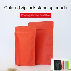 Matte Merah Berdiri Kantong dengan Ritsleting Aluminium Foil Zip Lock Bag Teh Celup Kopi Makanan Kemasan Tas Cetak Kustom tersedia