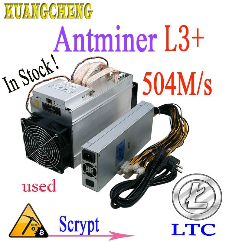 Used Asic miner ANTMINER L3+ LTC 504M 800W scrypt Mining LTC Wall power consumption Better Than antminer s9 T9 DR3 whatsminer m3