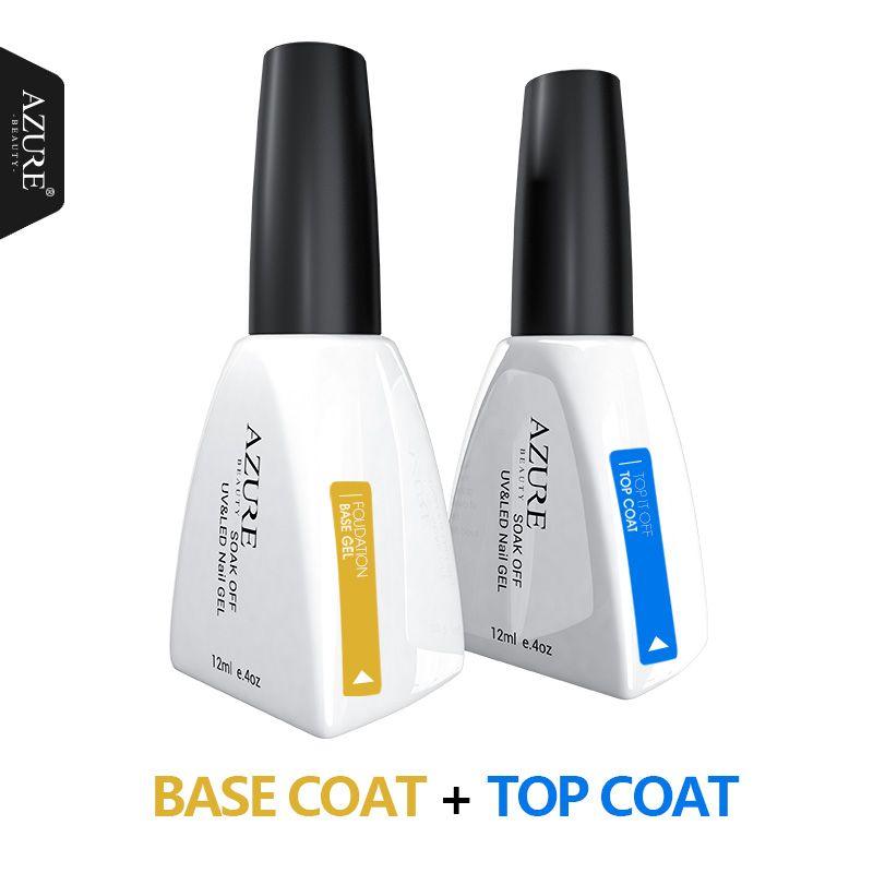 Brand Azure 12ml gelpolish gel nail polish soak off nail glue base coat + top coat Set for nails with UV lamp nail gel
