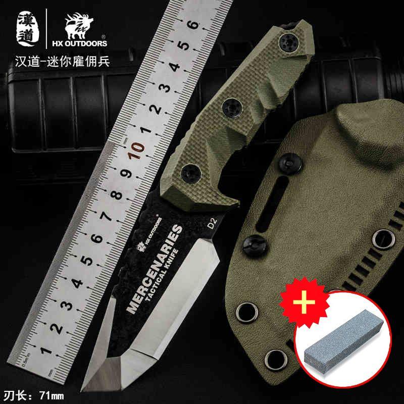 HX extérieur Mini mercenaires haute dureté tactique couteau droit couteau de survie sur le terrain, couteau de collection couteau extérieur