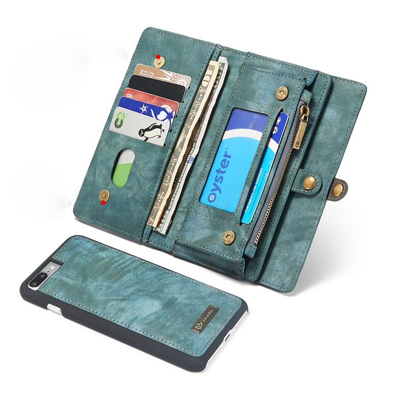 Split Genuine Leather Wallet Case For iPhone X 7 8 6 6S Plus 360 Full Coverage Card Magnetic Kickstand Bag For Samsung S8 Plus