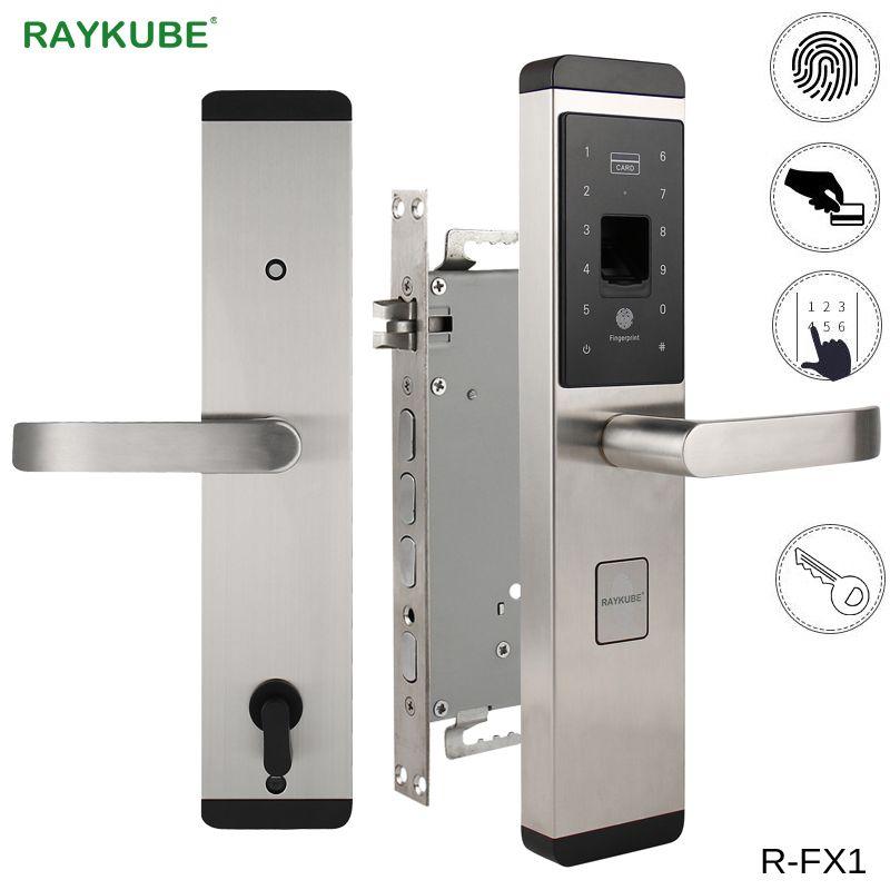 RAYKUBE Fingerprint-sperre Für Home diebstahl Türschloss Keyless Smart Lock Mit Digital Passwort RFID Entsperrt R-FX1