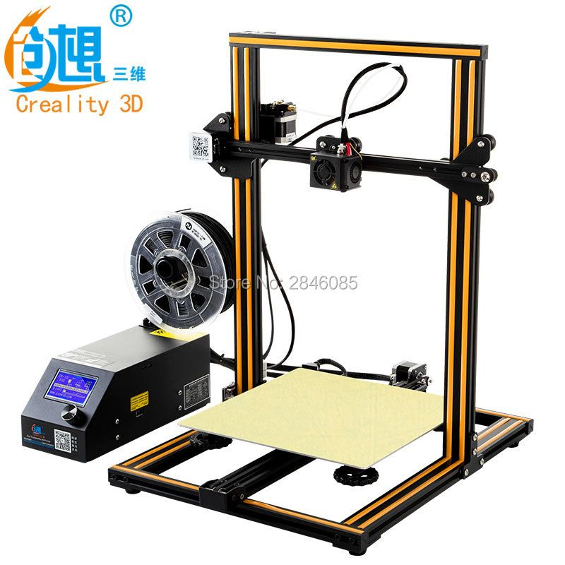 Günstige Creality CR-10 3D Drucker Große Druck Größe 300*300*400mm Semi DIY 3D Drucker Kit Aluminium erhitzt bett Freies Filament Werkzeug