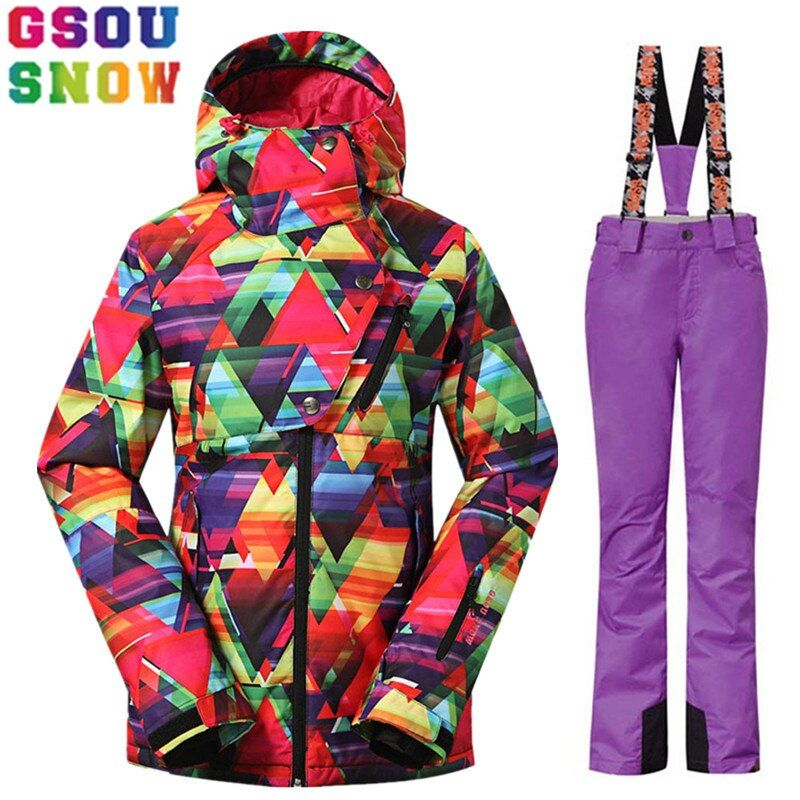 GSOU SNOW Brand Ski Suit Women Winter Ski Jacket Pants Waterproof Sets Snowboard Jacket Pants Female Snow Clothes Ladies Coat