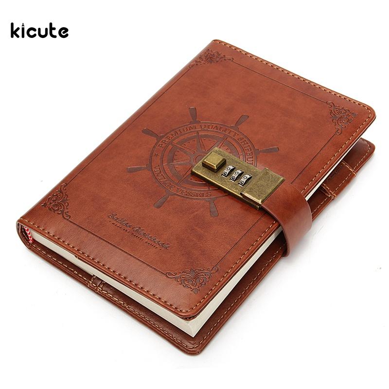 1 Pcs Vintage Rudder Brun En Cuir Journal Blank Journal Note Livre avec Mot de Passe Code de Verrouillage Bureau École Papeterie Fournitures Cadeaux