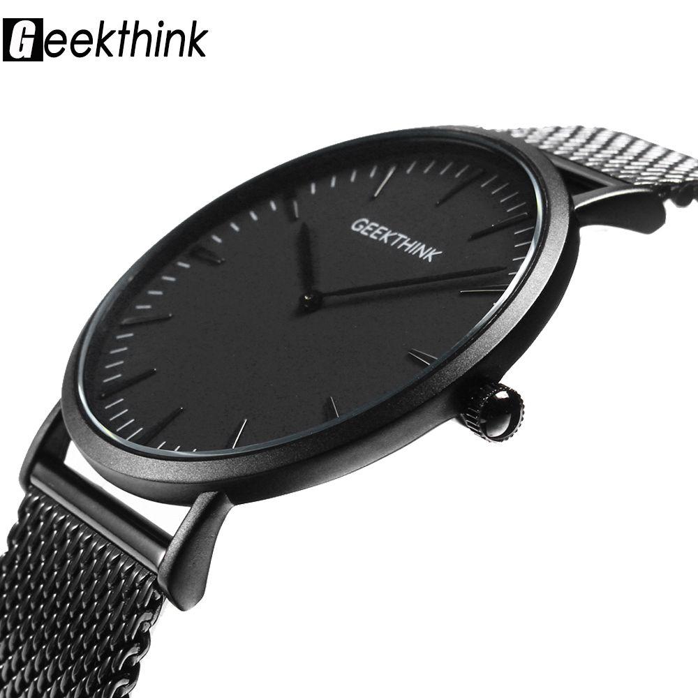Top Marca de Lujo de Cuarzo Reloj de los hombres Casual Negro Japón Cara De Palo de acero inoxidable reloj de cuarzo ultra delgado reloj masculino Relogio Nuevo