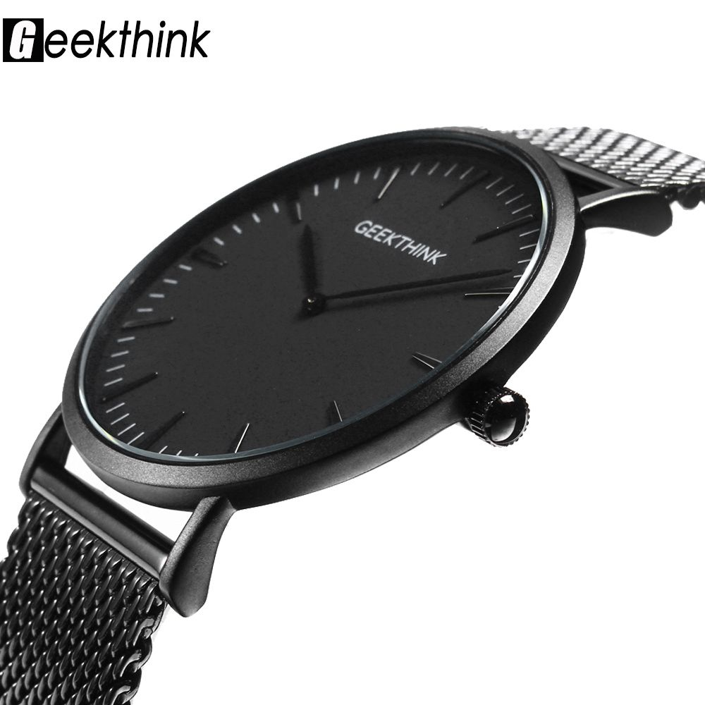 Ultra thin Quartz Watch Men <font><b>Casual</b></font> Black Japan quartz-watch stainless steel Wooden Face clock male Relogio New Top Brand Luxury
