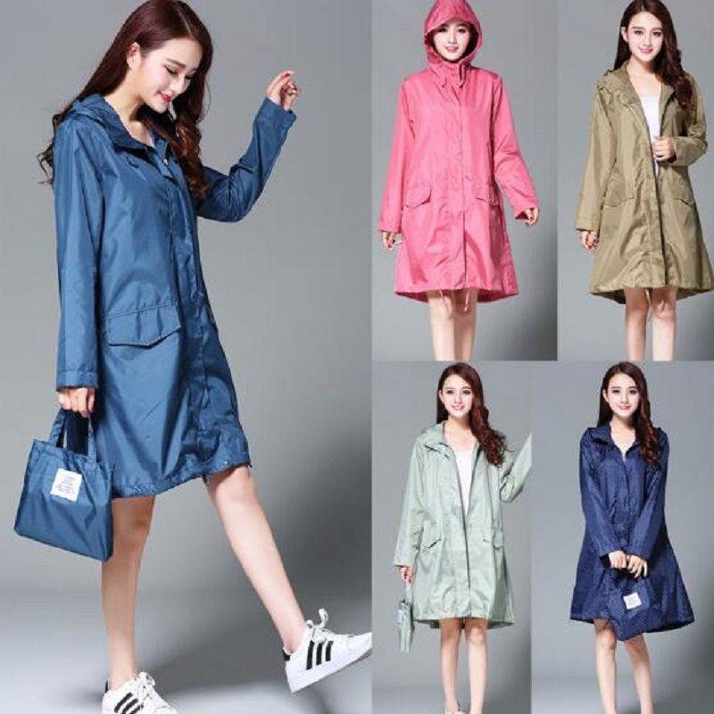 WINSTBROK Raincoat Women 2018 Fashion Ladies Rain <font><b>Coat</b></font> Breathable Ladies Long Raincoats Portable Water-Repellent Raincoat Women