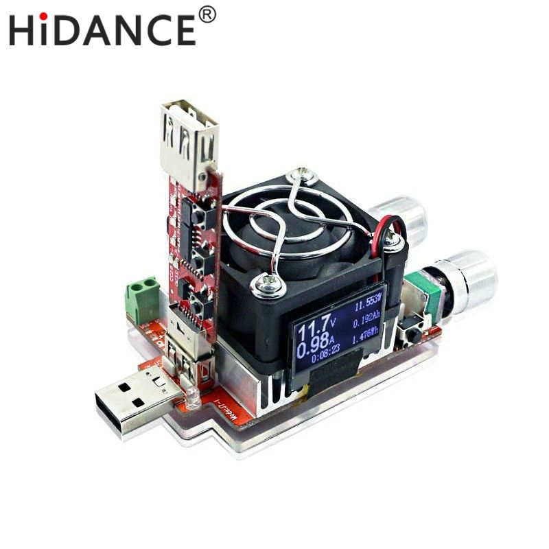 35W constant current <font><b>double</b></font> adjustable electronic load + QC2.0/3.0 triggers quick voltage usb tester voltmeter aging discharge