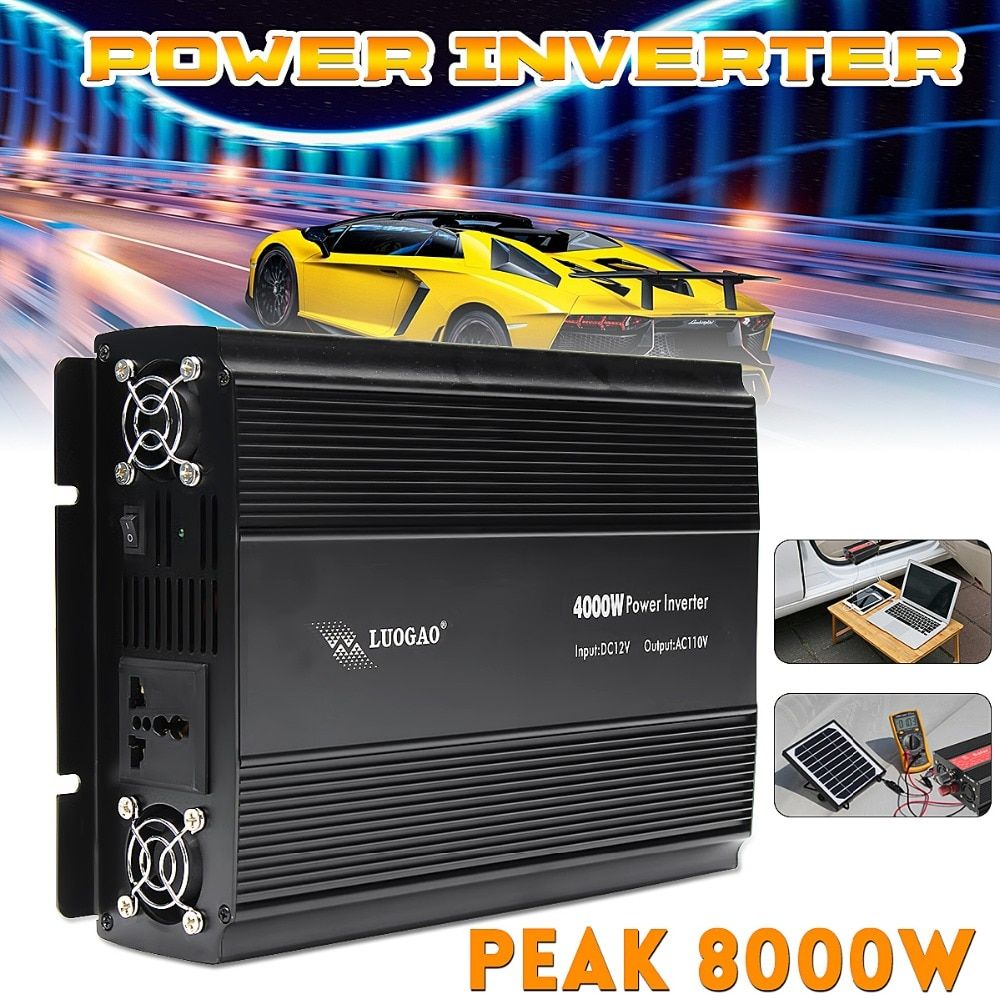 Car Inverter 12V 220V/110V 4000W Power Inverter Peak- 8000W voltage transformer Adapter Charger Square Wave Modified Pure Sine
